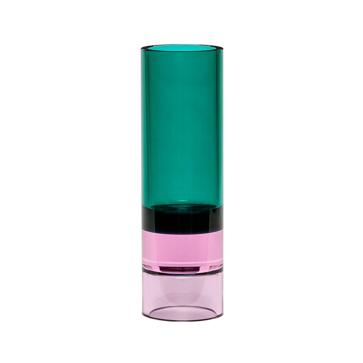 Vase / Lysestake i farget glass - grønn - Hübsch