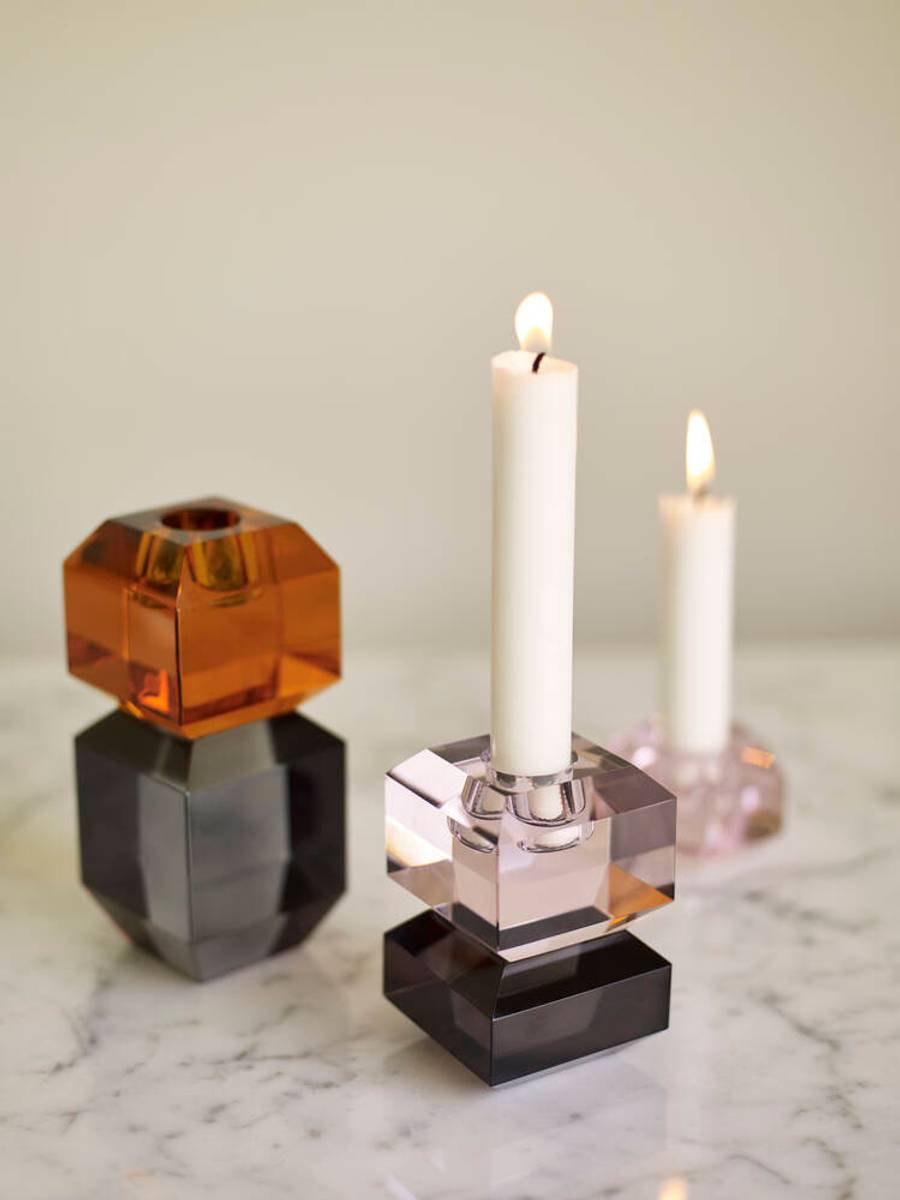 Lysestake krystall amber - Hübsch